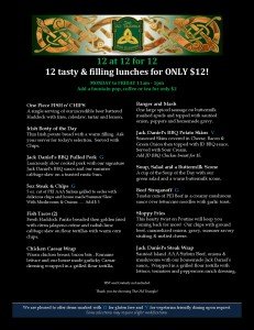 12 at 12 for 12 $12 Lunch Features November 2017 Black Background