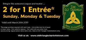 2 for 1 entree coupon 2019 Valid until March 26th