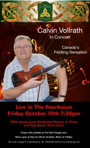 Calvin Vollrath Show in The Pourhouse Poster Fri Oct 19th 2018 PHOTO