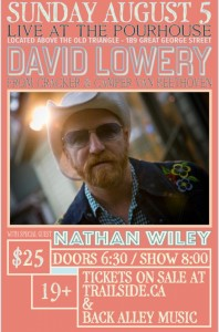 David Lowery Concert in The Pourhouse Trail side poster Pat Deighan Aug 5th 2018