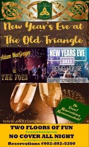 NO COVER NEW YEAR'S EVE!  The best party on two floors all night long.... No cover!  Adam MacGregor and The Foes on the main floor at 9pm and DJ Brett Doyle in The Pourhouse at 11pm til close.  Call us at 902-892-5200 for dinner reservations on either floor for groups of any size.