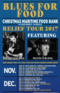 BLUES FOR FOOD ... Christmas Maritime Food Bank Relief Tour featuring Matchstick Mike Bidlake and Travis Furlong.  Just $10 at the door and a non-perishable food item.  A great night of music!  Doors at 6pm, Show at 7pm.