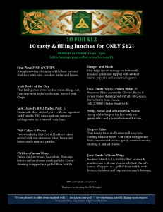 10 for $12 Lunch Menu April 2018 Black Background photo