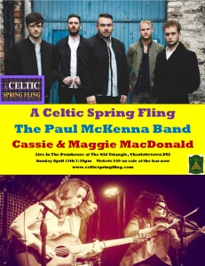 A Celtic Spring Fling The Paul McKenna Band with Cassie and Maggie Sun April 15th 2018 poster photo