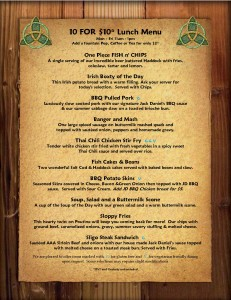 The Old Triangle PEI 10 for $10 Lunch Menu October 2018 Wood Background